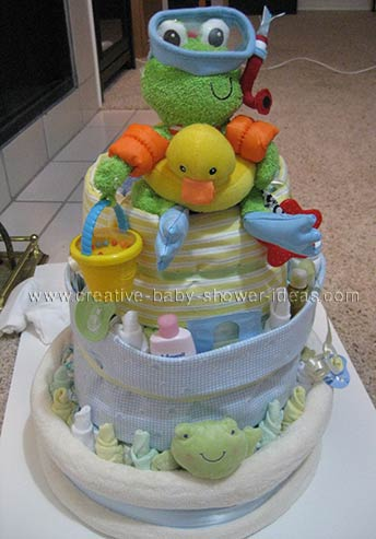 frog and duck bathtime diaper cake