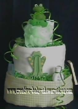 plaid green frog diaper cake