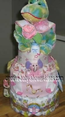 watercolor frog diaper cake