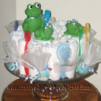 green bath toys frog diaper cake