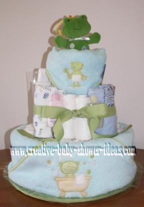 frog bath diaper cake