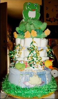 fly trap frog diaper cake