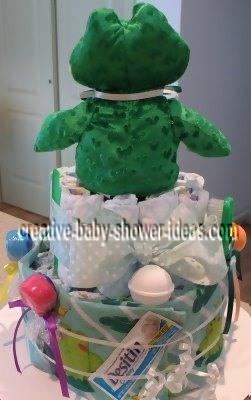 back of frog diaper cake