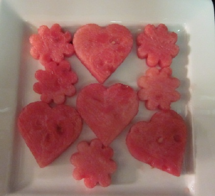 heart and flower watermelon shapes