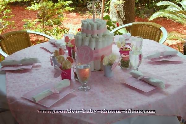 elegant garden diaper cake on baby shower table