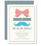 bows or boys gender reveal baby shower invitation