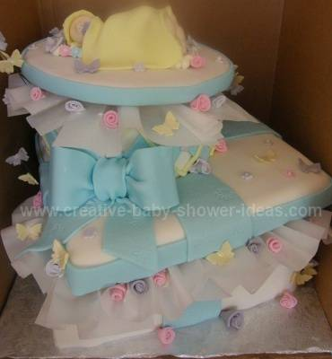 white and blue gift box baby cake