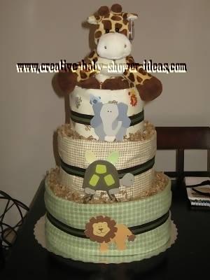 chic giraffe diaper cake