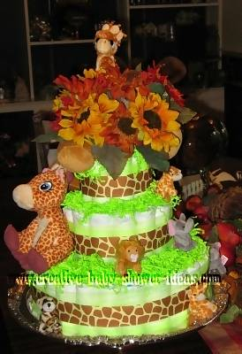 spotted giraffes and sunflowers diaper cake