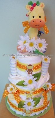 yellow giraffe and daisies diaper cake