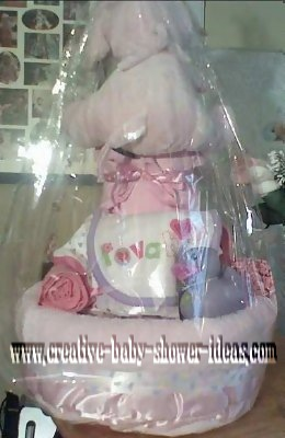 back of girl diaper cake