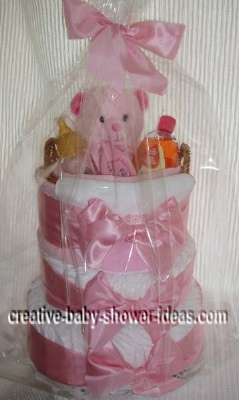 pink teddy bear girl diaper cake