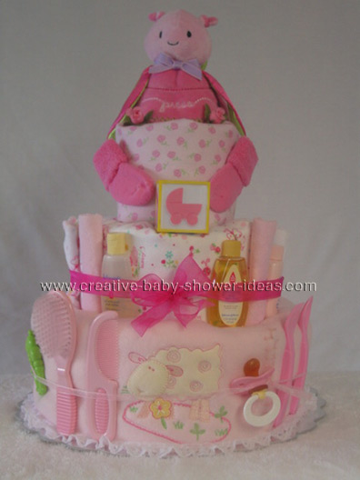 pink bat girl diaper cake
