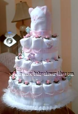 elegant girl white and pink pearls diaper cake