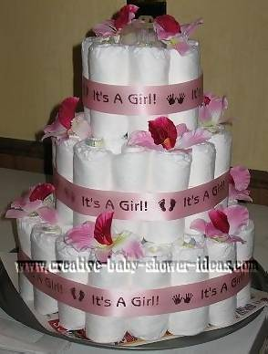 pretty pink its a girl diaper cake