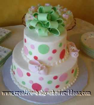fondant green and pink polka dot baby cake