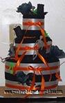 black and orange halloween towel cake