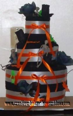 black silver and orange halloween towel cake