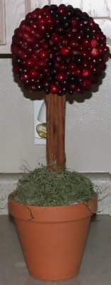 cranberry topiary for holiday season