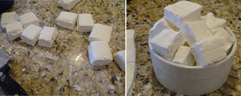 homemade marshmallows cut