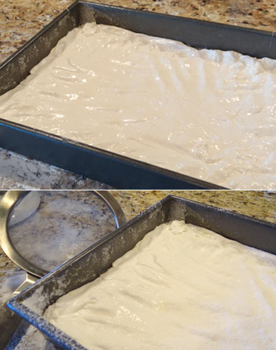homemade marshmallows in the pan