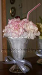 red and white carnation flower ice cream in shake glasses