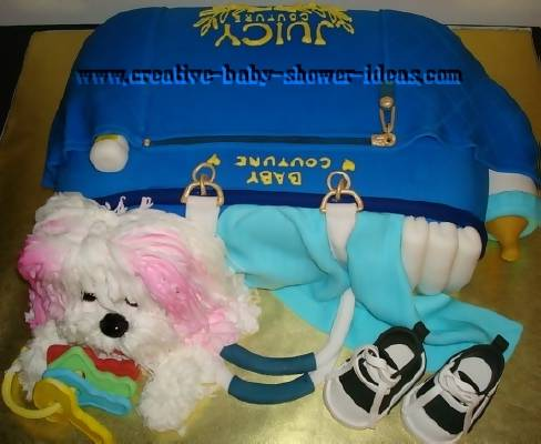 blue juicy diaper bag cake with puppy