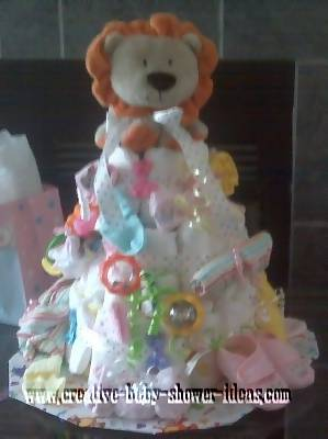 orange lion diaper cake