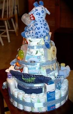 side of giraffe diaper cake