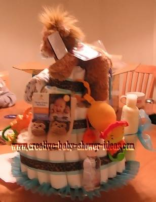 side of jungle lion diaper cake