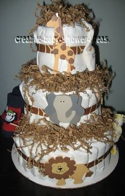 neutral tan and brown jungle animals diaper cake