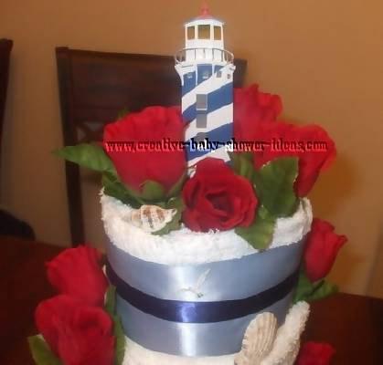 closeup of lighthouse on towel cake