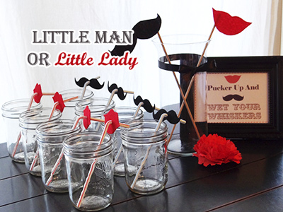 lips and mustache straw decorations for little man or little lady baby shower