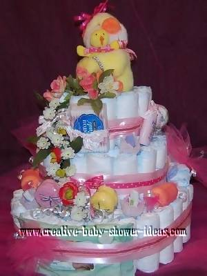 mommy and baby polka dot duck diaper cake