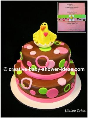 brown pink and green polka dot cake with baby chicks to match invitations