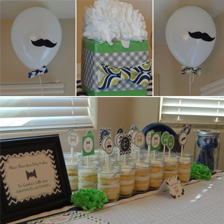 also carried the bow ties and mustaches throughout the baby shower