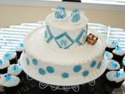 blue and white little prince cake