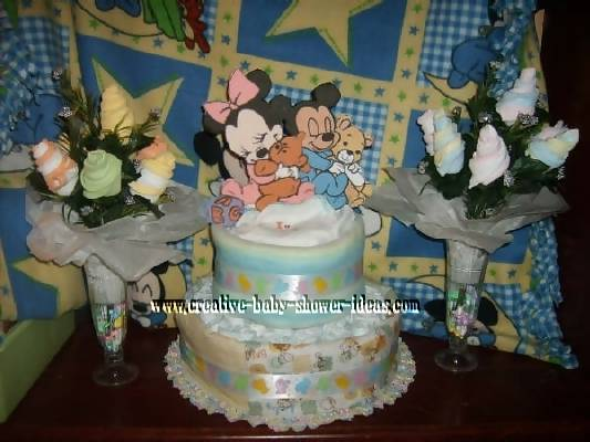 mickey mouse diaper cake and sock roses