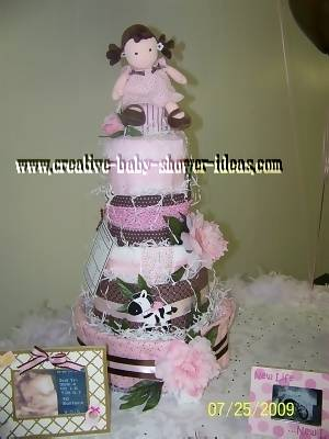 pink doll diaper cake