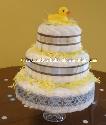 elegant blue and brown duck diaper cake