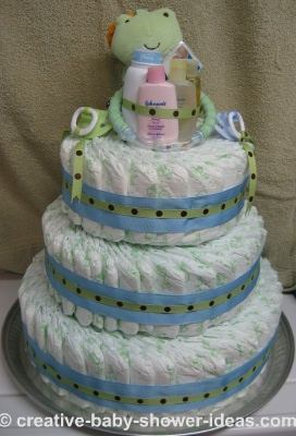blue and green polka dotfrog diaper cake