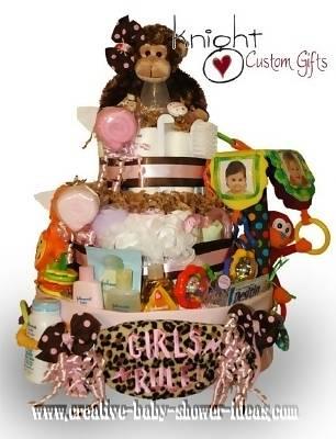 modern pink monkey diaper cake