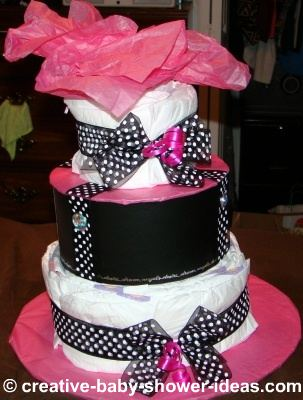mod pink and black polka dot diaper cake