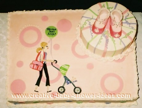 mod mom baby shower cake with mom pushing stroller design