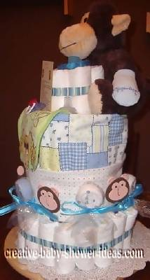 other side view cute monkey diaper cake