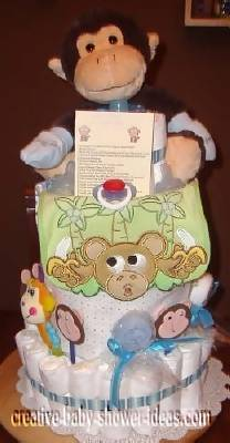 front of monkey diaper cake with cute monkey bib