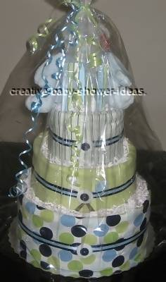 boutique diaper cake wrapped in cellophane