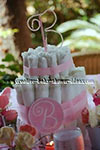 boutique diaper cake with pink monogram M