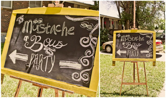 yellow chalkboard sign for mustache gender reveal
