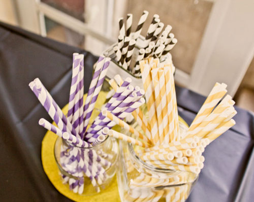 yellow, purple and black striped straws